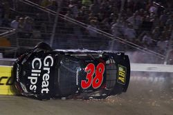 Kasey Kahne hits the wall after an incident