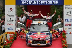 Podium: second place Daniel Sordo and Diego Vallejo, Citroën C4 Citroën Total World Rally Team