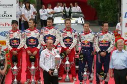 Podium: winners Sébastien Loeb and Daniel Elena, Citroën C4, Citroën Total World Rally Team, second
