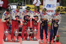 Podium: winners Sébastien Loeb and Daniel Elena, Citroën C4, Citroën Total World Rally Team, second place Daniel Sordo and Diego Vallejo, Citroën C4 Citroën Total World Rally Team, third place Sébastien Ogier and Julien Ingrassia, Citroën C4 WRC, C