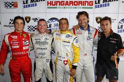 LMGT2 polewinnaar Alvaro Parente, LMP2 en algemeen polewinnaar Danny Watts, LMP1 polewinnaar Jean-Ch