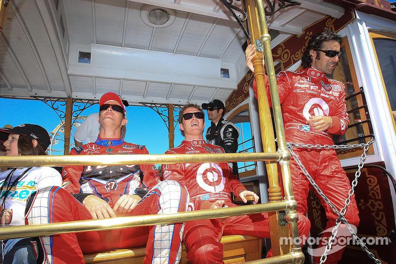 Ryan Hunter-Reay, Andretti Autosport, Scott Dixon, Target Chip Ganassi Racing, Dario Franchitti, Target Chip Ganassi Racing