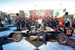 Race winner Will Power, Team Penske receives the inaugural 'Mario Andretti Road Championship Trophy'