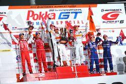 GT500 podium Winner: #8 Arta HSV-010: Ralph Firman, Yuji Ide,Takashi Kobayashi: 2nd place: #23 Motul Autech GT-R: Satoshi Motoyama, Benoit Treluyer: 3rd place #100 Raybrig FSV-010: Takuya Izawa, Naoki Yamamoto