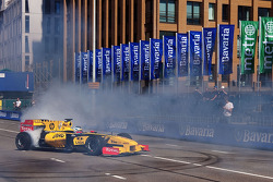 Jan Charouz, Renault F1 Team Reserve Driver performs a doughnut for the crowd