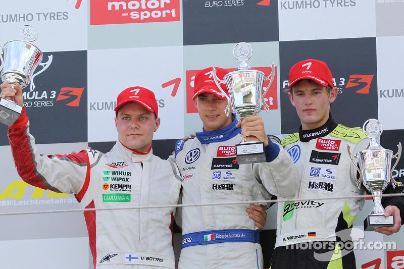 Podium: winnaar Edoardo Mortara, Signature Dallara F308 Volkswagen, 2de Valtteri Bottas, ART Grand Prix Dallara F308 Mercedes, 3de Marco Wittmann, Signature Dallara F308 Volkswagen