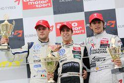 Podium: race winner Antonio Felix da Costa, Motopark Academy Dallara F308 Volkswagen, second place Laurens Vanthoor, Signature Dallara F308 Volkswagen, third place Roberto Merhi, Muecke Motorsport Dallara F308 Mercedes