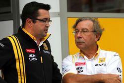 Eric Boullier, Team Principal, Renault F1 Team and Jean-Francois Caubet, Managing director of Renaul