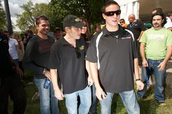 NASCAR Nationwide Series rijders Patrick Carpentier, Jacques Villeneuve en Andrew Ranger