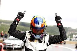 Race winner Robert Wickens celebrates