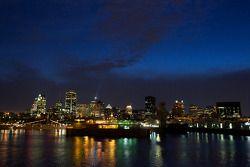 Het uitzicht op downtown Montréal