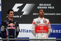 Podium: race winnaar Lewis Hamilton, 2de Mark Webber