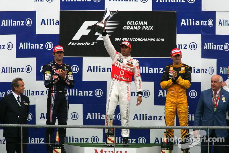 Podyum: Yarış galibi Lewis Hamilton, 2. Mark Webber, 3. Robert Kubica