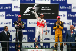 Podium: race winner Lewis Hamilton, second place Mark Webber, third place Robert Kubica