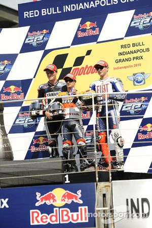 Podium: race winner Dani Pedrosa, Repsol Honda Team, second place Ben Spies, Monster Yamaha Tech 3, third place, Jorge Lorenzo, Fiat Yamaha Team