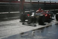 Oli Webb splashes out of the pit lane