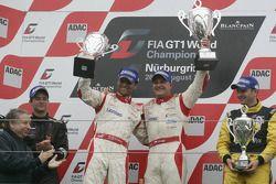 Podium: race winners Darren Turner and Tomas Enge