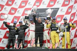 Podium: race winners Darren Turner and Tomas Enge, second place Peter Kox and Christopher Haase, thi