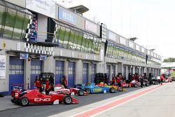 Formula Two cars in the Oschersleben pit lane