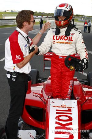 Sergey Afanasiev scored pole position for race 1 and is congratulated by James Gornall Formula Two Championship Co-ordinator