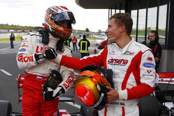 Sergey Afanasiev scored pole position for race 1 and is congratulated by second placed Kazim Vasiliauskas