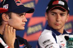 Press conference: pole winner Dani Pedrosa, Repsol Honda Team, second place Jorge Lorenzo, Fiat Yama