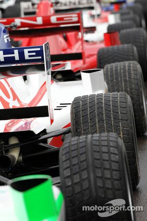 The Formula Two cars in the pit lane