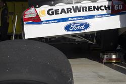 Carl Edwards car sits in the garage