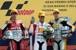 Podium: race winner Toni Elias, second place Julian Simon, third place Thomas Luthi