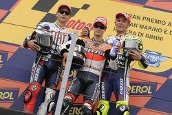 Podium: race winner Dani Pedrosa, Repsol Honda Team, second place Jorge Lorenzo, Fiat Yamaha Team, t