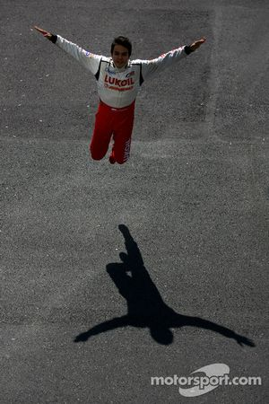 Sergey Afanasiev jumps for joy