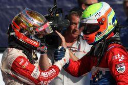 Jules Bianchi, deuxième, et Oliver Turvey, troisième