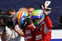 Race winner Fernando Alonso, Scuderia Ferrari, third place Felipe Massa, Scuderia Ferrari