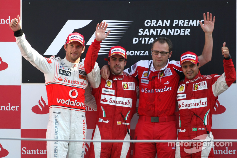 2010: 1. Fernando Alonso, 2. Jenson Button, 3. Felipe Massa