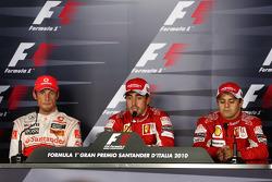 Post-race press conference: race winner Fernando Alonso, Scuderia Ferrari, second place Jenson Button, McLaren Mercedes, third place Felipe Massa, Scuderia Ferrari