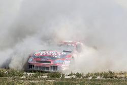 Greg Rayl spint van de baan bij de start