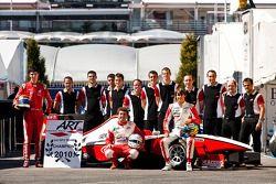 Esteban Gutierrez, Pedro Nunes, Alexander Rossi and the ART team celebrate winning the teams Champio