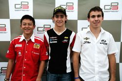 Esteban Gutierrez in the press conference with Robert Wickens and Rio Haryanto