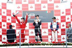 Robert Wickens celebrates victory on the podium with Nico Muller and Mirko Bortolotti