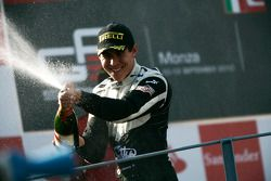Robert Wickens celebrates victory on the podium