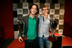 Teddy Yip from Status Grand Prix receives the prize for 2nd overall in the teams Championship with Robert Wickens receives the trophy for 2rd overall in the Championship
