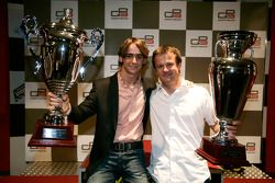 Esteban Gutierrez receives the prize for 1st overall in the Championship with Guillaume Capietto from ART Grand Prix receives the prize for 1st overall in the Championship
