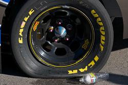 Flat tire on the winning car