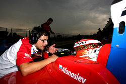 Sergey Afanasiev gets advice from an engineer