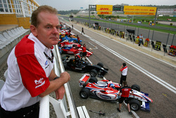 Jonathan Palmer, CEO MotorSport Vision, watches the F2 action