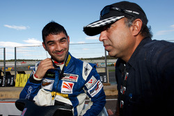 Armaan Ebrahim celebrates his race 1 third place on the grid