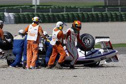 Kazim Vasiliauskas is led away after his accident