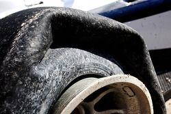 Avon tyres and gravel in the wheels of the wrecked car of Kazim Vasiliauskas