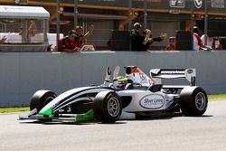 2010 Formula Two Champion Dean Stoneman crosses the line