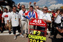 2010 Formula Two Champion Dean Stoneman is congratulated by his father Colin Stoneman